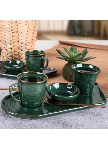 Keramika Keramika Zümrüt Lora Kahve Sunum Seti 8 Parça 2 Kişilik Renkli